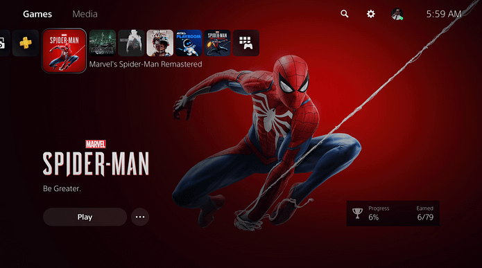 The PlayStation 5 UI puts games front and center by separating games and media apps