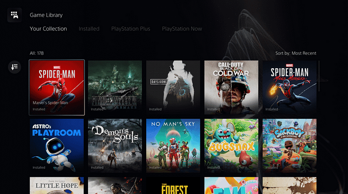 The game library on PS5 showcases your game tiles in an elegant way